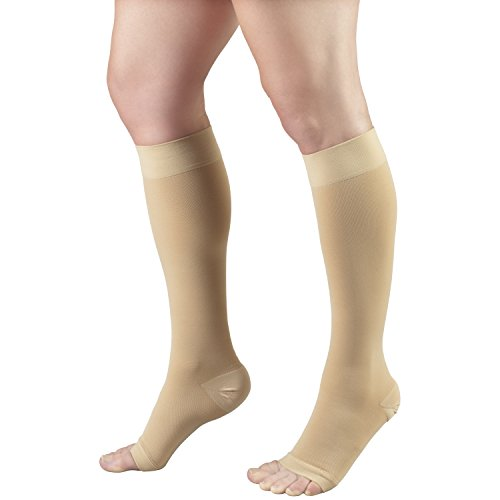 Truform Stockings, Short Length, Knee High, Open Toe: 20-30 mmHg, Beige, Large (short length)