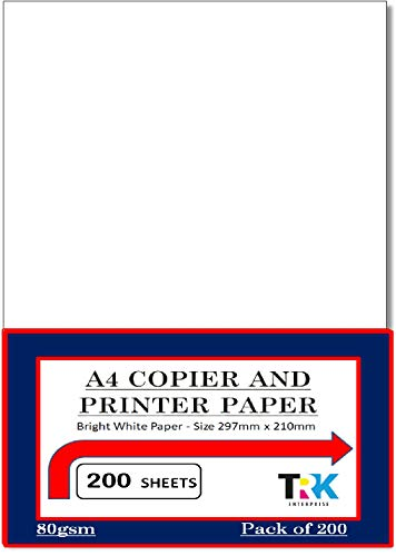 A4 Bright White Copier and Printer Paper - 200 Sheets, 80gsm Paper - Size 297mm x 210mm