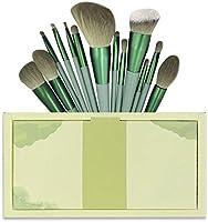 メイクブラシ 13本 グリーン メイクブラシセット 化粧筆 高級繊維毛 柔らかい 人気 化粧ブラシセット イクブラシセット 化粧ポーチ付き