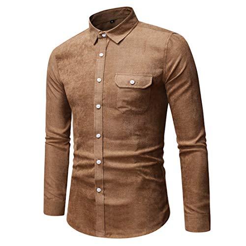 Hemd Herren Businesshemd Slim Fit Langarm Button Hemd Arbeitshemd Pure Color Simple Top Frühling Und Herbst Hochzeitsfeier Hemd E-Khaki M