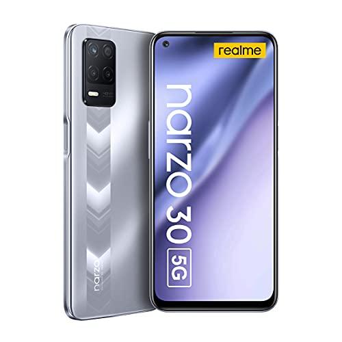 "Realme Narzo 30 5G Smartphone Libre 6.5"" Pantalla fluida 90Hz Grande Batteria 5000mAh RAM 4GB ROM 128GB Expandible 1TB 48MP AI Triple Cámara Dual SIM NFC Android 11"