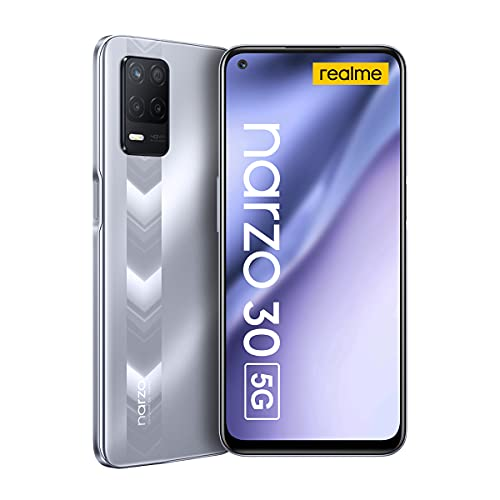 Realme Narzo 30 5G Smartphone Libre 6.5� Pantalla fluida 90Hz Grande Batteria 5000mAh RAM 4GB ROM 128GB Expandible 1TB 48MP AI Triple Cámara Dual SIM NFC Android 11