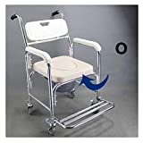 Aluminum Shower Chair Bedside Commode w/Casters and Padded Seat, Rolling Transport Chair Lockable