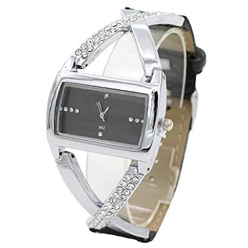 Tuimiyisou Reloj de Las Mujeres de Moda de Cuarzo analógico Cuadrado Retro del dial del Reloj con Cuero Brazalete Ocasional de Cadena Simple Reloj de Pulsera con la batería