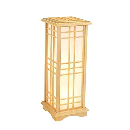 Lámpara de pie de estilo chino con luz blanca cálida, 24 x 24 x 60 cm, creativa pino, lámpara de mesa cálida para dormitorio, mesita de noche, salón, estudio, lámpara de mesa