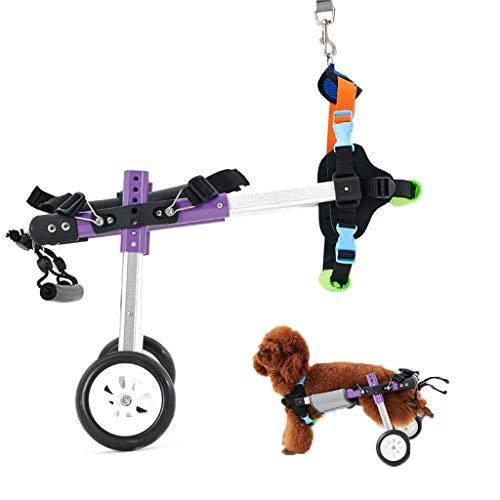 Perro pequeño Carro de aleación de Aluminio Mascota/Gato Perro Silla de Ruedas Rehabilitación de Patas traseras para Perros discapacitados, 2 Ruedas, para Gatos Adultos Perros pequeños Pomerania