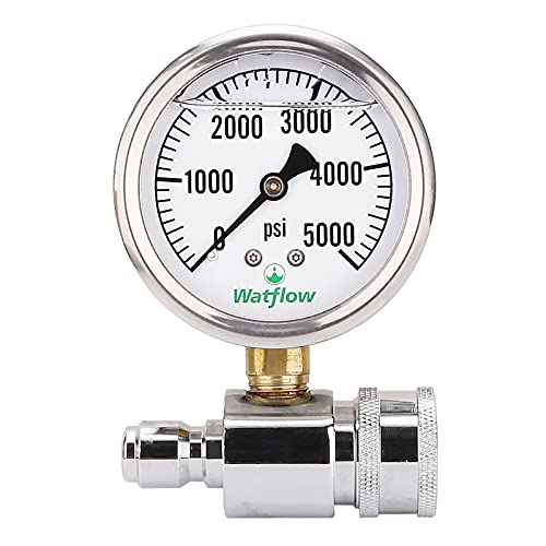 왓 플로우 압력 세척기 압력 게이지 키트 3 | 8 인치 빠른 연결 0-5000 PSI 글리세린 채워진