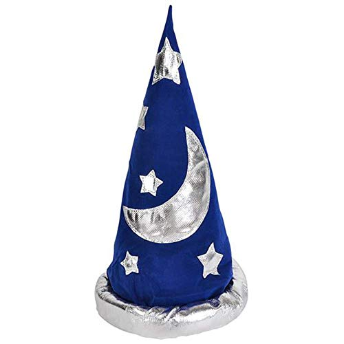 ArtCreativity Wizard Hat for Kids, Set of 2, Velour Pointed Hat for Merlin, Gandalf, Dumbledore Halloween Costume, 17 Inch Navy Hat with Silver Moon and Stars, Game Prize for Boys and Girls