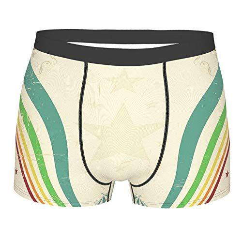 MJIAX Männerunterwäsche,Old School Zirkuszelte Design mit Sternen und gebogenen Linien Werbung, Boxershorts Atmungsaktive Komfortunterhose Größe M