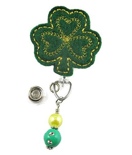 St Patrick's Day Clover Gold Stitch - Nurse Badge Reel - Retractable ID Badge Holder - Nurse Badge - Badge Clip - Badge Reels - Pediatric - RN - Name Badge Holder