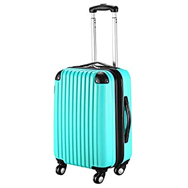 Goplus 20  ABS Carry On Luggage Expandable Hardside Travel Bag Trolley Rolling Suitcase GLOBALWAY (Aqua)