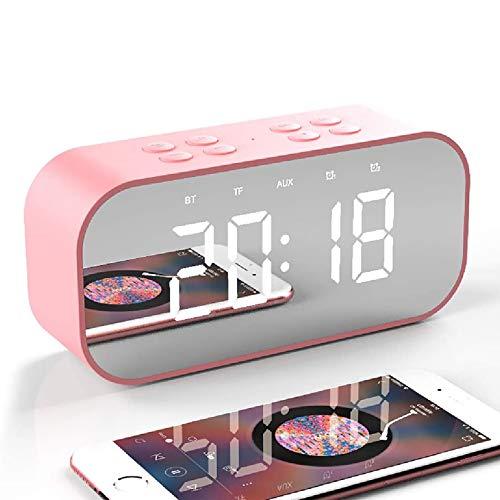 Foccoe Reloj Despertador Digital con Altavoz Bluetooth, Reloj Despertador con Espejo LED con Temporizador Portátil y Cargador USB, Alarmas Duales, Micrófono Incorporado, Recepción de Llamadas de Teléfono móvil, Ideal para el Hogar y los Viajes