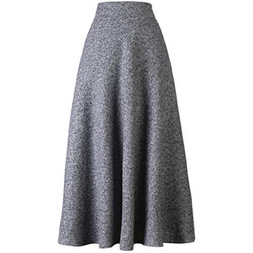 BiilyLi Mujer Vestido a Punto Su/éter Elegante Jers/éy Cl/ásico para Oto/ño Invierno Cuello Alto Casual