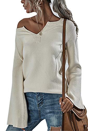 ZIYYOOHY Damen Strickpullover V Ausschnitt Langarmshirts Pullover Sweatshirt Schulterfrei Lose Casual Oberteil Tops Sweater Pulli (026 Beige, L)