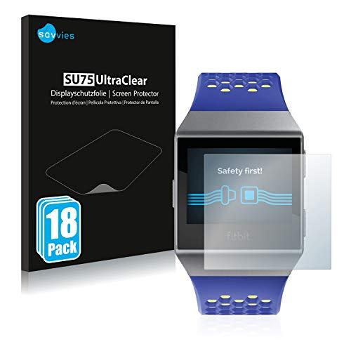 Savvies 18x Schutzfolie kompatibel mit Fitbit Ionic Displayschutz-Folie Ultra-transparent