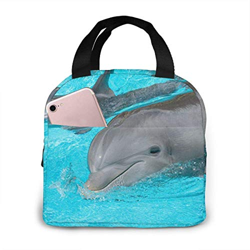 shenguang Dolphin and Its Baby Insulated Lunch Bag for Women/Men - Reusable Lunch Box for Office Work School Picnic Beach - Leakproof Cooler Tote Bag Freezable Lunch Bag for Kids/Adult