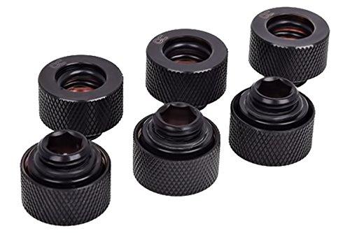 Alphacool HT 13mm HardTube Anschraubtülle G1/4 für Plexi- Messingrohre - gerändelt, schwarz (Deep Black Sixp)