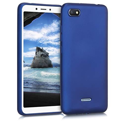 kwmobile Cover Compatibile con Xiaomi Redmi 6A - Protezione Back Case Silicone TPU Effetto Metallizzato - Custodia Morbida Blu Metallizzato