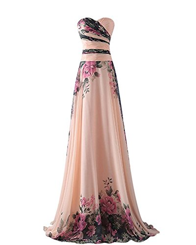emmarcon Abito da Cerimonia Donna in Chiffon Damigella Vestito Lungo Elegante Floreale da Festa Party-Pink Peach -M(Busto 88cm)