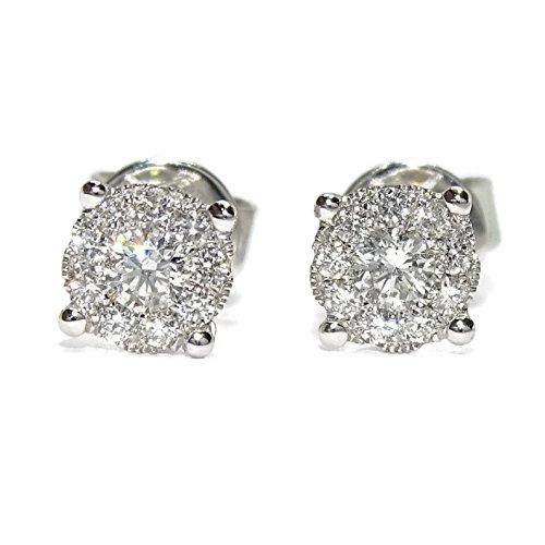 Impresionantes pendientes de 0.34cts de diamantes en oro blanco de 18k. Cierre presión. 6mm de diámetro.