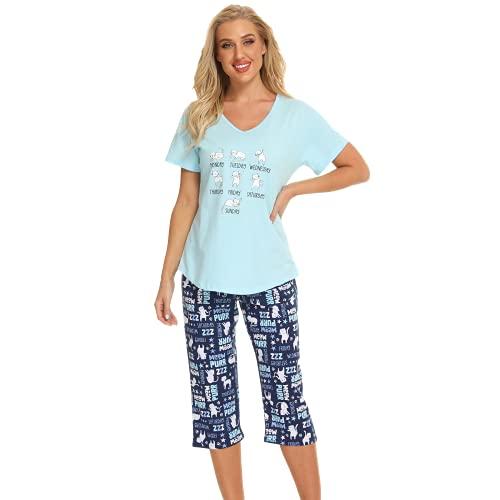 Jecarden Damen Schlafanzug Zweiteiliger Pyjama Sommer Nachthemd Kurzärmeliges Hausanzug Baumwolle Sleepwear Nachtwäsche Oberteil und Hose Karikatur Katze für Damen Junges Mädchen