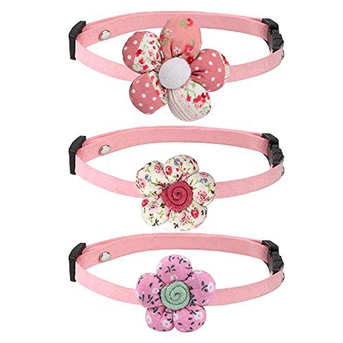 Katzenhalsband Blumen Haustier Halsband Süß Verstellbare Halsband für Katzen Kätzchen Welpen Dekoration Party Rosa 3 Stück