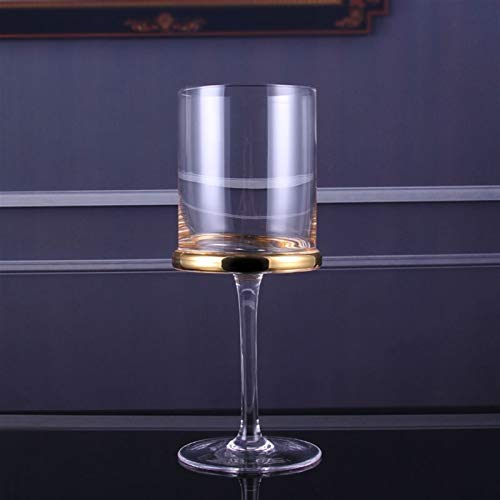 WAWAYU Copa de Vino Tinto, Habitación 2pcs cilíndrico Oro cáliz Hotel de Gama Alta Champagne Cristal de Vidrio de Vino Rojo Modelo Decoración de la Mesa (Size : Platinum Wine Glass)