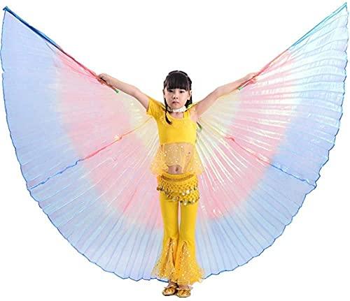 ZRKJ-jl ala de la Danza del Vientre de Las niñas del niño con los palitos telescópicos portátiles para el Rendimiento del niño Disfraz de Baile Egipcio Indian Dance Angle Alas, Oro (Color: Oro