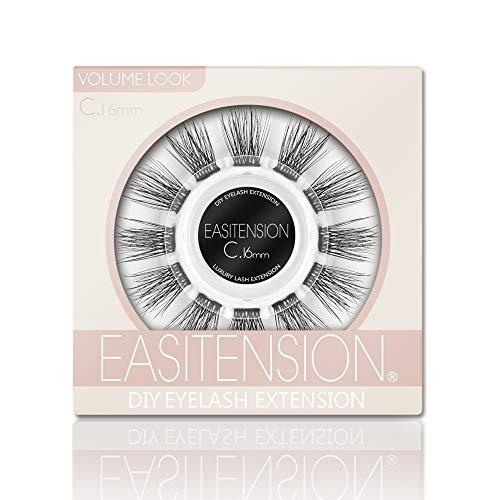 DIY Eyelash Extension, 3D Effect Glue Bonded Band Individual Lash 12 Clusters Volume Lashes Set, Home Eyelash Extension, C curl Lashes Pack (16MM)
