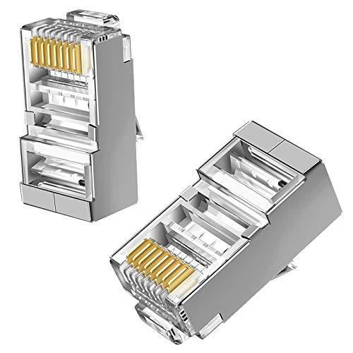 Conectores RJ45 blindados Cat6, conector de paso a través de conectores modulares chapados en oro, enchufe de red 8P8C chapado en oro de 50U para cable sólido y cable estándar (paquete de 100)