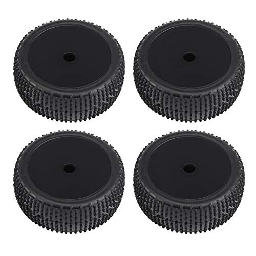 Dilwe 4 Pcs Neumáticos de Goma para 1/8 1/10 Control Remoto Off-Road Crawler Cars Trucks(Negro Sin Agujeros)