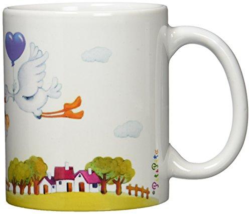 Mopec Taza de cerámica Pit & Pita con una cigüeña para niño, Pack de 1 Unidad, Porcelana, Blanco, 8.10x8.10x9.50 cm