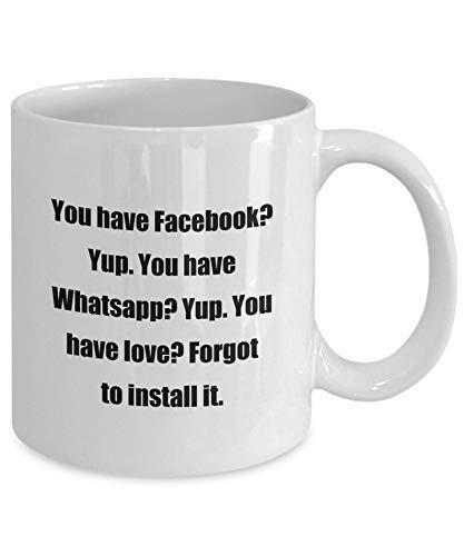 LAKILAN Kaffeetasse-Lustige Facebook Whatsapp-Ideal Für Ihre Freunde Und Kinder Große Teebecher,Porzellan Kaffeebecher,Hite Coffee Mug,Porzellantasse,Keramik Tasse