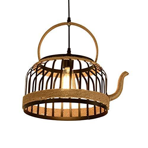 Lámpara colgante de cuerda de cáñamo, luz colgante de techo de vid creativa E27, lámpara de té de loft ajustable en altura, pantalla, luces colgantes para bar, cafetería, restaurante, sala de estar