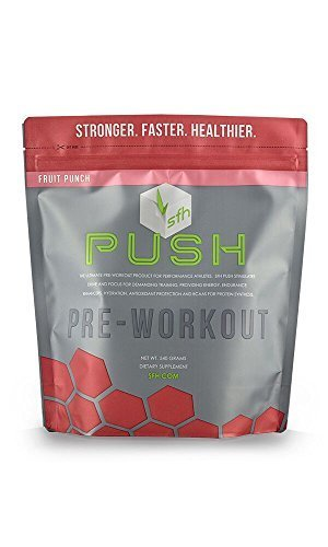 Push Pre-Workout Powder (Fruit Punch) by SFH | Best Tasting BCAA's for Muscle Repair | Electrolytes | Non-Dairy, No Artificial Flavors, Colors, Sugar, Soy, Gluten, or GMOs (Bag)