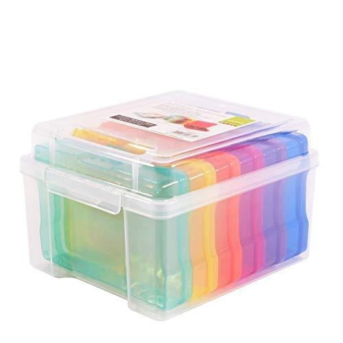 Vaessen Creative 1009-030 Aufbewahrungsbox mit Deckel und 6 Kleinen Bunten Dosen, Kunststoff Sortierbox zum Verstauen von Bastelzubehör, Fotos und Weiteren Utensilien, 21 x 18,5 x 14 cm, transparent