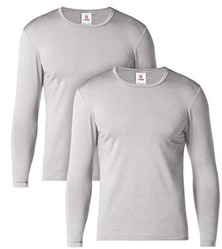 LAPASA Camiseta Térmica Manga Larga para Hombre Pack de 2/Pack de 1 -Brushed Back Fabric Technique- M09/M55 (L (Largo 74, Manga 62, Pecho 104-110 cm), M09-LIGERO Grey (Gris) X2)