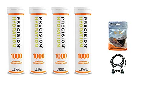 Precision Hydration Electrolyte Tablets - 4 Tubes of 10 x Tabs (1000 Strength). Bundled with a Pack of VPoint Leisure Elastic No-tie Reflective Shoe Laces
