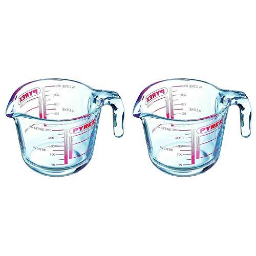 Pyrex Classic Glas-Messbecher, hohe Hitzebeständigkeit, 0,25 Liter, transparent (2 Stück)