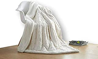 DaDa Bedding Luxury White Roses Faux Fur with Sherpa Backside Fleece Throw Blanket - Super Soft Warm Plush Luxe Solid Toss - 50