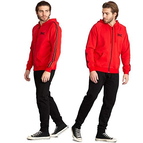 Everlast Chándal de hombre deportivo completo chaqueta pantalón deportivo con capucha en color negro rojo negro / rojo M