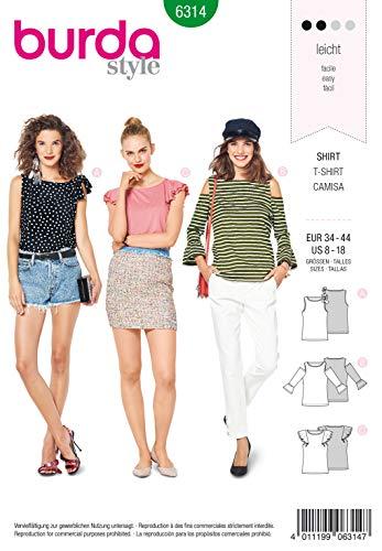 Burda Schnittmuster 6314, Top, T-Shirt [Damen, Gr. 34-44] zum selber nähen, ideal für Anfänger [L2]