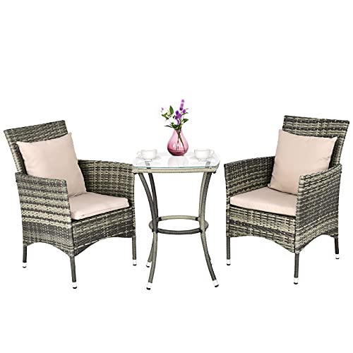 COSTWAY 3 PCS Rattan Furniture Set, Sectional Patio Bistro Set with 2 Chairs and Glass Table, Outdoor Wicker Weave Companion Sofa Set for Garden Balcony Poolside