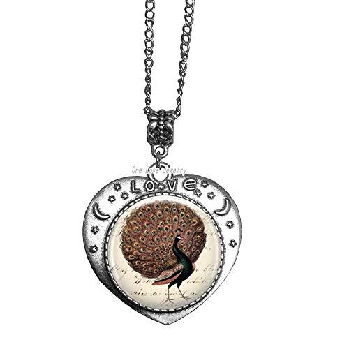 Ni36uo0qitian0ozaap Collar con colgante de pájaro de pavo real con colgante de cristal, joyería de plumas, collar de pájaro, regalo para ideas de regalo, TAP326