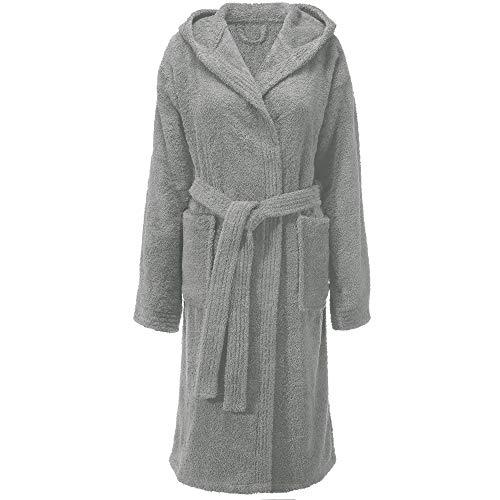 CelinaTex Fehmarn - Albornoz para mujer con capucha de algodón de rizo, talla XS - XL gris M