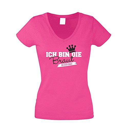 Damen T-Shirt mit V-Ausschnitt zum JGA - Ich Bin die Braut die Sich traut, Fuchsia-schwarz, M