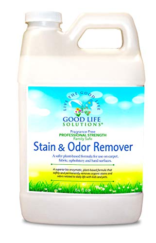 Stain Remover And Odor Eliminator - 100% Made In The USA- Mattress, Couch, Carpet, Auto, Floors, Pet - Blood, Poop, Vomit, Incontinence Urine Cleaner - A Safer Plant-Based, Enzyme Formula. 1/2 Gallon
