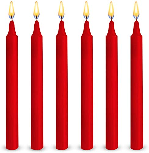 YYCH 100 Red Colored Spell Candles, Unscented 5' H X 3/5' D, No Smoke for Spell, Chime, Birthdays, Parties, Hanukkah, Wicca Wiccan Supplies and Christmas