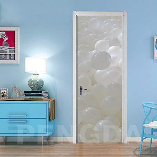 BXZGDJY 3D-deurposter zelfklevend deur-muurschildering – witte ballon creatieve pvc afneembare deur film DIY sticker bloem woonkamer slaapkamer kinderen restaurant kantoor bar deur kunst decoratie 95x215cm
