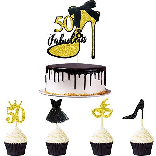 Pink Blume 33 Stück Gold Schwarz Glitter 50 & Fabulous Geburtstagstorte Tretta und fabelhafte Cake Topper Cupcake Toppers Sets für Frauen Happy 50. Geburtstag Feier Geburtstag Kuchendekoration